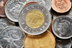 Close up picture of Canadian dollar coins. Royalty Free Stock Photography
