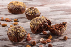 Close-up picture of chocolate cupcake with almonds Stock Photo