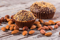 Close-up picture of chocolate cupcake with almonds Royalty Free Stock Photos