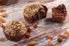 Close-up picture of chocolate cupcake with almonds Royalty Free Stock Photo