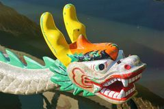 Dragon on the bow of a Chinese dragon boat royalty free stock photography