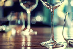 Close up picture of empty glasses in restaurant Stock Photos