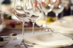 Close up picture of empty glasses in restaurant Stock Image