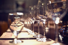 Close up picture of empty glasses in restaurant Royalty Free Stock Photography