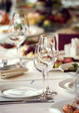 Close up picture of empty glasses in restaurant Stock Images