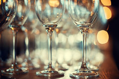 Close up picture of empty glasses on the wooden counter  in rest Royalty Free Stock Images