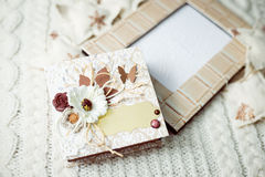 Close up picture of gift presents on artistic copy space background Stock Images