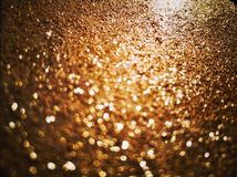 Close-up on a Golden Glitter Box Stock Photography