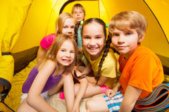 Close-up picture of kids in tent Stock Image