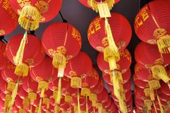 Close up picture of a large group of Chinese paper lanterns hanging from a ceiling in George Town - Penang stock photos