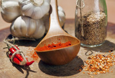 Close up picture of a lot of red hot chilli peppers and spicy, g Royalty Free Stock Images