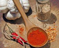 Close up picture of a lot of red hot chilli peppers and spicy, g Stock Photography
