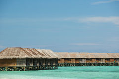 Close up picture of Maldives bungalow and water villa resort Stock Images
