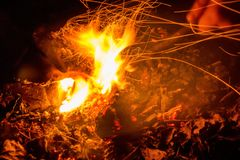 Closeup male hand and bonfire slow shutter picture. Close up picture of man`s hand touching fire with stick taken with slow shutter Royalty Free Stock Photography
