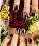 Close up picture of manicure nails with dry flower red rose, dehydrated by winter Royalty Free Stock Image