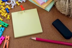 Close up picture of note paper with stationry Stock Photo