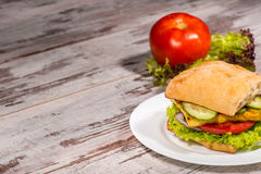 Close-up Picture Of Vegetarian Sandwich With Tofu Stock Image