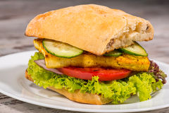Close-up Picture Of Vegetarian Sandwich With Tofu Stock Photography