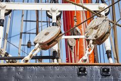 Close up picture of old sailing ship details. Royalty Free Stock Photography