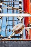 Close up picture of old sailing ship details. Stock Image