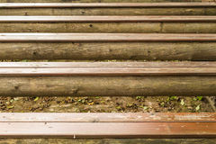 Close-up picture of an old wooden bench Stock Photos