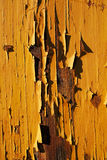 Close-up picture of an old wooden house with pealing off paint Stock Photo