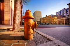 Fire hydrant on sidewalk of Baltimore city, USA stock image