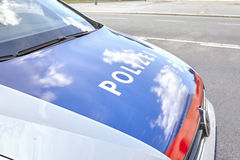 Close up picture of a police car hood. Royalty Free Stock Image