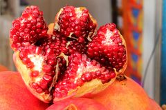 Close-up picture of a  pomegranate royalty free stock photos