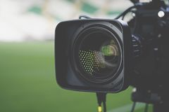 Close-up picture of a professional tv camera. Before broadcasting stock photography