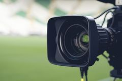 Close-up picture of a professional tv camera before. Broadcasting royalty free stock image