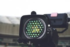 Close-up picture of a professional tv camera. Before broadcasting royalty free stock photos