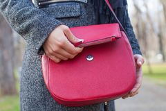 Close up red bag & female hand Stock Image