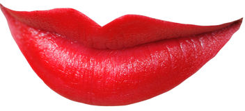 Close up picture of the red lips. Isolated on white Royalty Free Stock Images