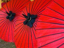 Red umbrella made from paper. Close up picture of Red umbrella made from paper Royalty Free Stock Photos