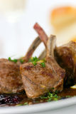 Close up picture of a roasted lamb chop and vegeta Stock Photos