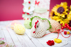 Close up picture on set of colorful eggs and gift decorations Royalty Free Stock Photos