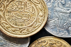 Close up picture of Tunisian dinars. Royalty Free Stock Images