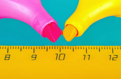 Two markers and a ruler Royalty Free Stock Photography