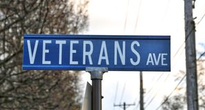 Close Up Picture of a Veterans Avenue Street Sign Royalty Free Stock Photography