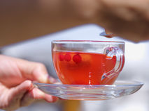 A female`s hands with a cup of berries liquid on a blurred background. Delicious and natural strawberry tea. stock images