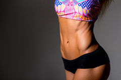 Close up picture of woman trained abs Stock Images