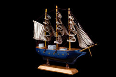 Close-up picture of wooden toy ship Royalty Free Stock Images