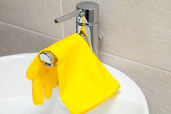 Bathroom cleaning concept stock images