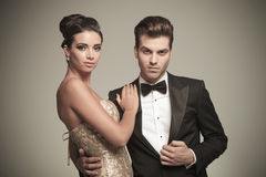 Close up picture of a young elegant couple posing Stock Images