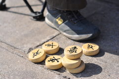 Close-up pictures of Chinese Chess at the foot Stock Photography
