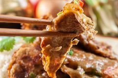 Close-up of piece egg fu yung Stock Photos