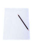 Close up of a piece of note paper with pencil Royalty Free Stock Photo