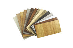 Close up piece of wood color guide for sample isolated on white Royalty Free Stock Photos