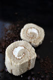 Close up Pieces of Coffee Roll Cake Royalty Free Stock Images